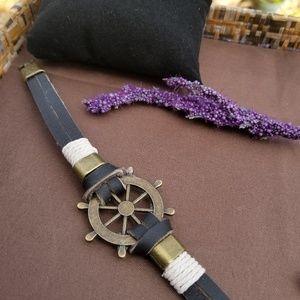 Other - Unisex Brass Helm Leather Bracelet